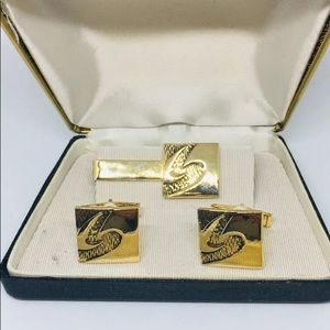 "Tie bar cufflink set with box vintage men's ""S"""